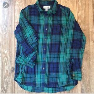 Green & blue flannel.
